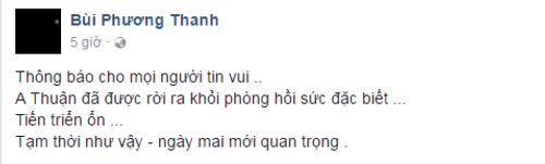Minh Thuận qua cơn nguy kịch, được đưa về phòng hồi sức - Ảnh 1