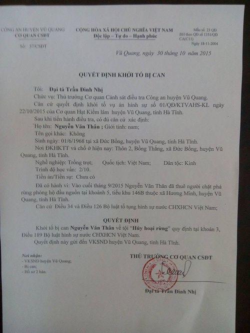 Khởi tố đối tượng phá rừng tại Vũ Quang  - Ảnh 2