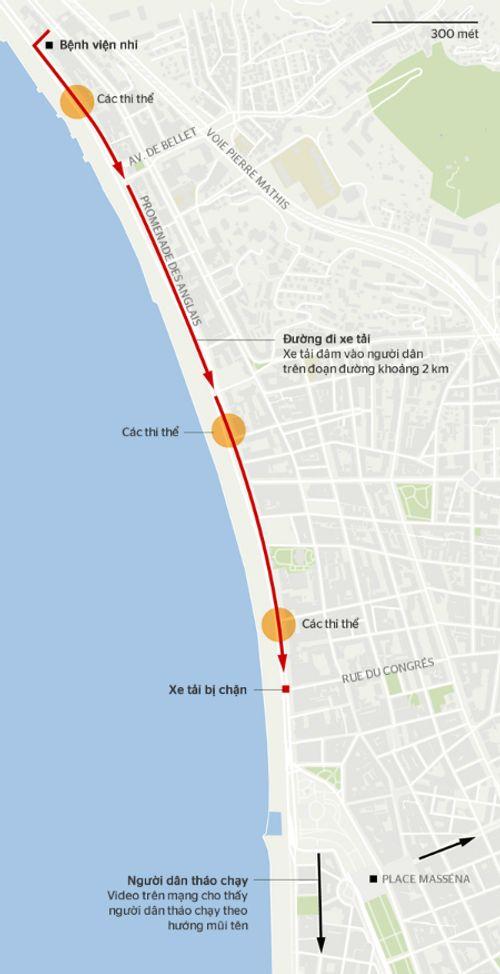 Vụ khủng bố ở Pháp: Kẻ lái xe tải đâm đoàn người dọc 2 km - Ảnh 1