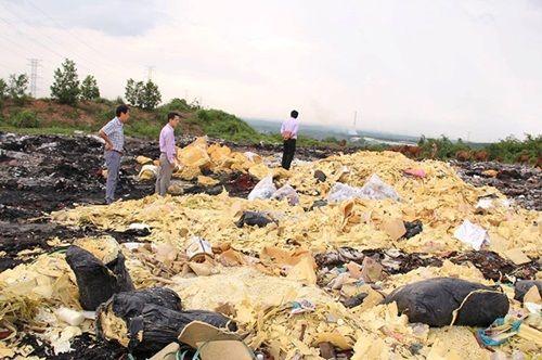 Vật nuôi, cây trồng chết ồ ạt bên bãi rác nghi đổ hóa chất - Ảnh 1