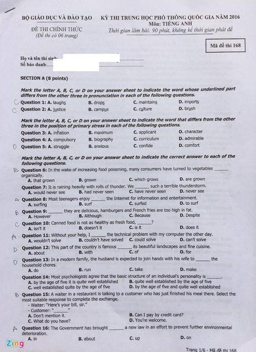 Đáp án đề thi môn tiếng Anh mã đề 168 THPT quốc gia năm 2016 - Ảnh 4
