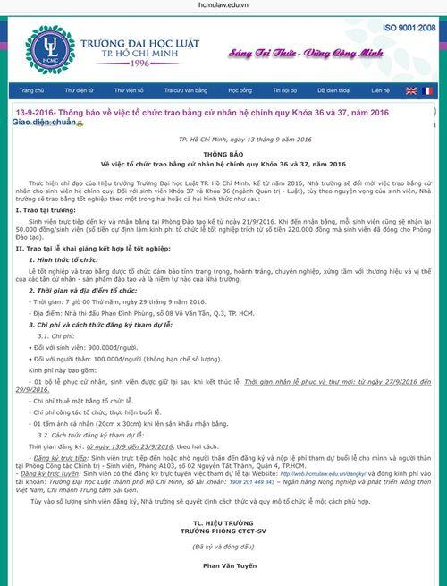 Dự lễ tốt nghiệp tại ĐH Luật TP. Hồ Chí Minh: Phải đóng gần 1 triệu đồng - Ảnh 1