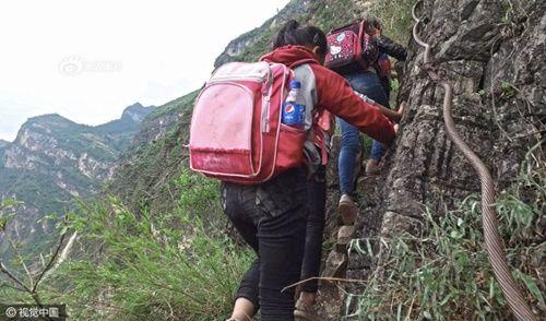 Thót tim, rơi nước mắt nhìn trẻ em leo cầu thép dựng đứng vách núi đến trường - Ảnh 24