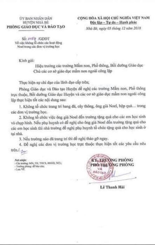 """Huyện Nhà Bè rút văn bản """"cấm tổ chức hoạt động mừng Giáng sinh trong trường học"""" - Ảnh 1"""