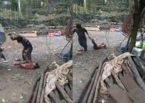 Phẫn nộ cảnh ông bố đánh đập con gái rồi kéo lê sau xe máy - Ảnh 1