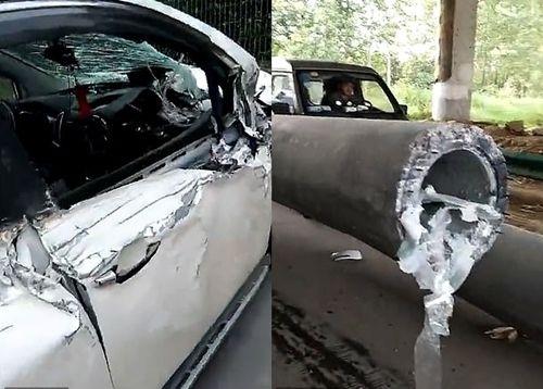 Tài xế thoát chết kì diệu sau khi bị cột bê tông đâm xuyên từ đầu đến đuôi xe - Ảnh 2