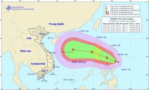 Xuất hiện bão Sarika giật cấp 12 trên biển Đông - Ảnh 1