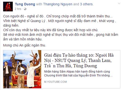 Nghệ sĩ Việt ngậm ngùi thương tiếc NSƯT Quang Lý - Ảnh 2