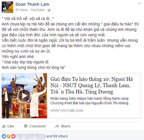 Nghệ sĩ Việt ngậm ngùi thương tiếc NSƯT Quang Lý - Ảnh 3