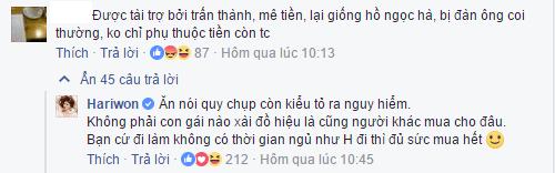 Bị chỉ trích mê tiền, phụ thuộc Trấn Thành, Hari Won phản pháo gay gắt - Ảnh 3