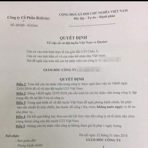 Cổ vũ U23 Việt Nam đá bán kết, nhiều công ty cho nhân viên nghỉ làm - Ảnh 2