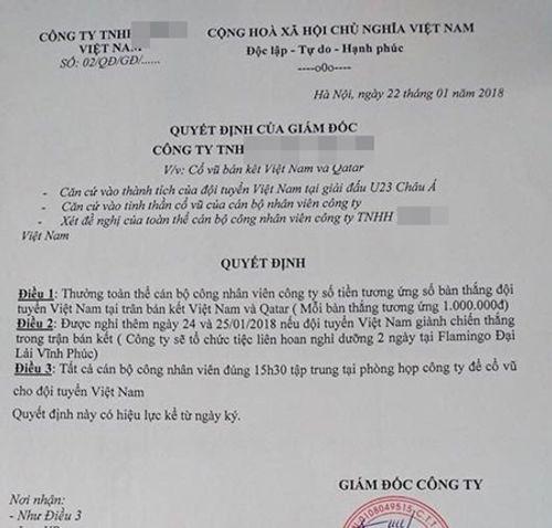 Cổ vũ U23 Việt Nam đá bán kết, nhiều công ty cho nhân viên nghỉ làm - Ảnh 4