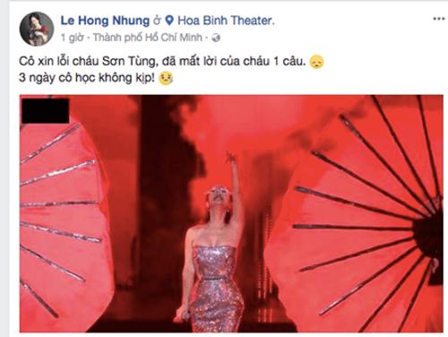 """Hồng Nhung xin lỗi Sơn Tùng M-TP vì quên lời khi cover """"Lạc Trôi"""" - Ảnh 2"""