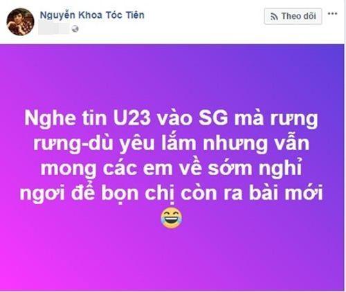 """Phản ứng """"lạ"""" của Tóc Tiên, Hương Giang Idol trước tin đồn U23 Việt Nam đến TP.HCM - Ảnh 2"""