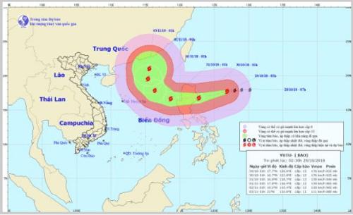 Dự báo thời tiết ngày 29/10/2018: Bão Yutu giật cấp 17 áp sát Biển Đông - Ảnh 1