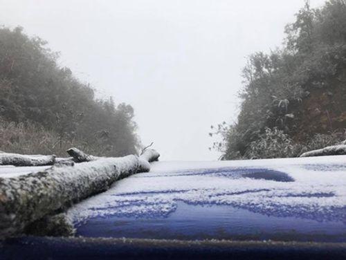 Nhiệt độ giảm sâu, tuyết lại phủ trắng đèo Ô Quý Hồ, Sa Pa - Ảnh 1