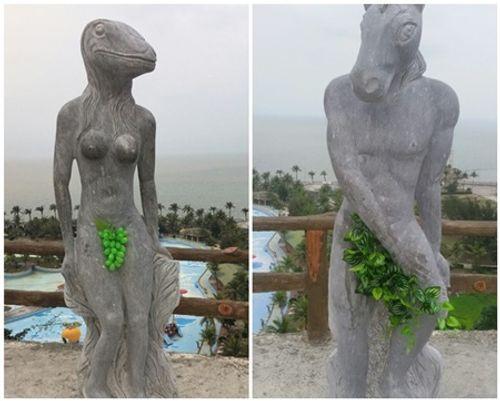 Tượng 12 con giáp ở Hải Phòng thay bikini bằng lá cây, chùm nho - Ảnh 2