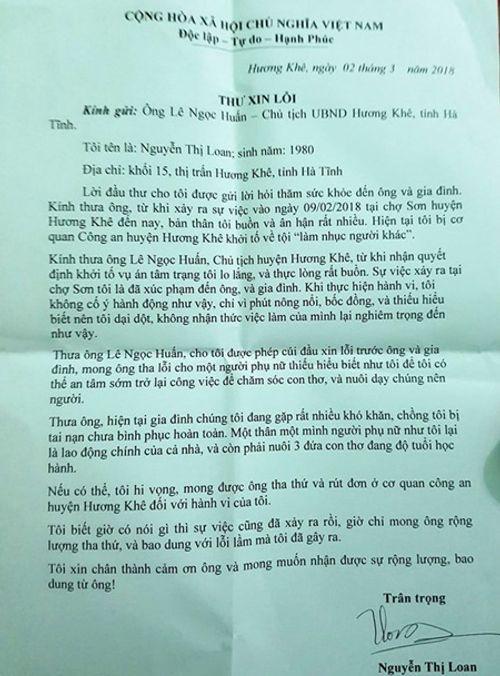 Hà Tĩnh: Nữ tiểu thương hắt tiết lợn gửi thư xin lỗi chủ tịch huyện - Ảnh 1