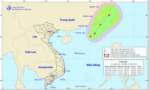 Chiều 17/6: Xuất hiện áp thấp nhiệt đới trên Biển Đông - Ảnh 1
