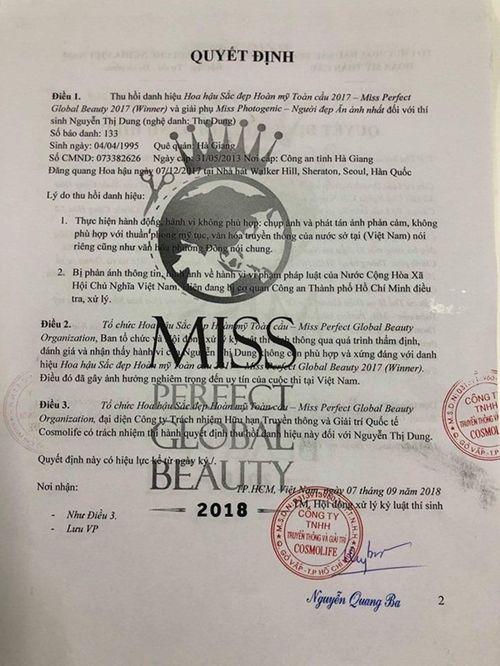 Thư Dung bị tước danh hiệu cuối cùng - Hoa hậu sắc đẹp hoàn mỹ toàn cầu 2017 - Ảnh 1