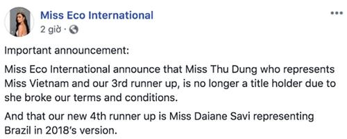 Thư Dung chính thức bị tước danh hiệu Á hậu 2 Miss Eco International 2018 - Ảnh 1