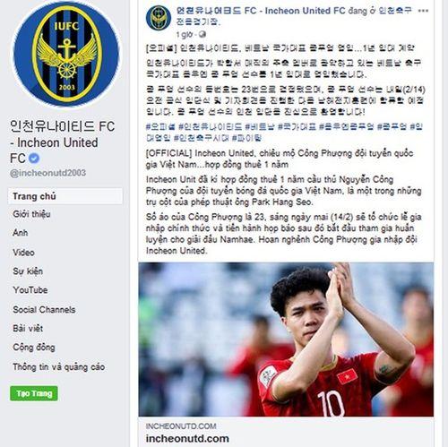 Incheon Utd tiết lộ số áo chính thức của Công Phượng - Ảnh 2