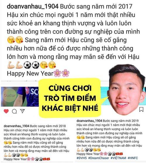 """Dàn tuyển thủ Việt Nam chúc mừng năm mới: Fan phát hiện Đoàn Văn Hậu """"3 năm như 1"""" - Ảnh 1"""