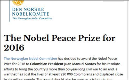 Vì sao Tổng thống Colombia đoạt giải Nobel Hòa bình 2016? - Ảnh 1