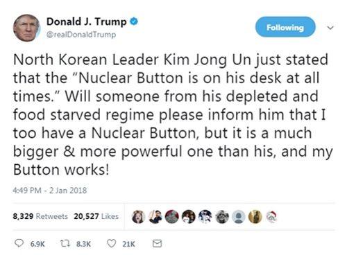 """Ông Trump nhắn ông Kim Jong-un: """"Nút hạt nhân của tôi to và uy lực hơn"""" - Ảnh 1"""