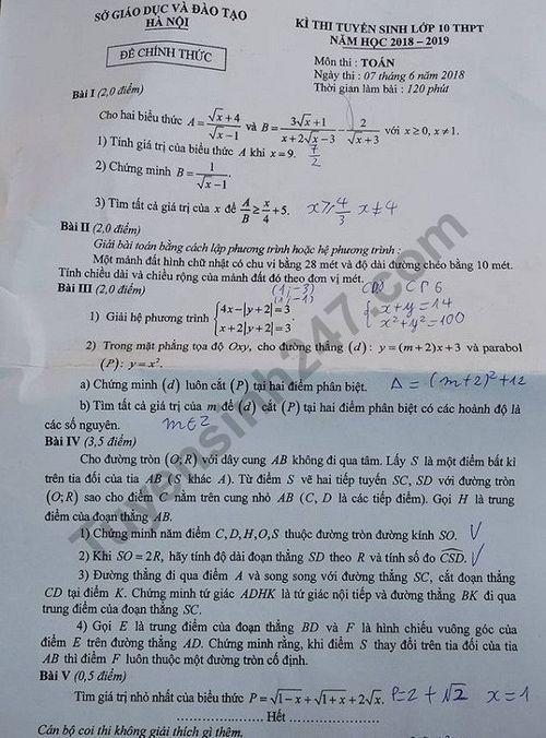 Gợi ý đáp án đề thi vào lớp 10 môn Toán Hà Nội 2018 - Ảnh 1