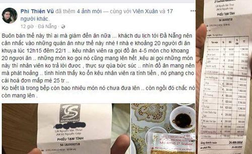 """Du khách tố bị chặt chém"""" gần 25 triệu một bữa ăn khuya ở Đà Nẵng - Ảnh 1"""
