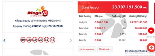 """Kết quả xổ số Vietlott hôm nay 31/10/2018: Jackpot hơn 23 tỷ đồng """"nở hoa hay bế tắc""""? - Ảnh 1"""