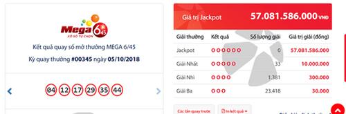 Kết quả xổ số Vietlott ngày 5/10/2018: Giải mã bộ số trúng Jackpot hơn 57 tỷ đồng - Ảnh 1