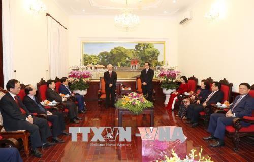 Tổng Bí thư Nguyễn Phú Trọng chung vui cùng người dân Hà Nội chào đón Giao thừa - Ảnh 1