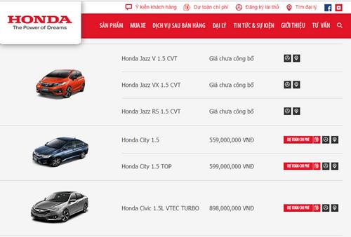 Bảng giá ô tô Honda mới nhất tháng 3/2018 tại Việt Nam - Ảnh 1