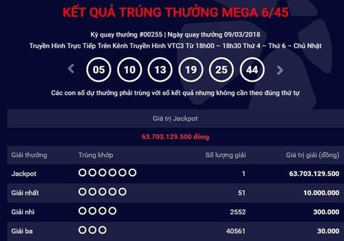 """Kết quả xổ số Vietlott hôm nay 9/3/2018: Cái kết """"màu hồng"""" của Jackpot hơn 63 tỷ - Ảnh 1"""