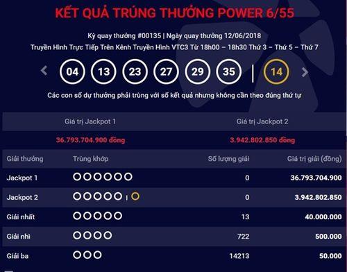 Kết quả xổ số Vietlott hôm nay 14/6/2018: Jackpot hơn 36 tỷ lại treo lơ lửng - Ảnh 1