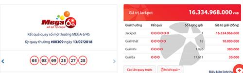 """Kết quả xổ số Vietlott hôm nay 13/7/2018: Jackpot 16 tỷ """"nổ tưng bừng"""" - Ảnh 1"""