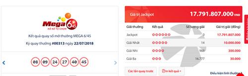 """Kết quả xổ số Vietlott hôm nay 22/7/2018: Jackpot hơn 17 tỷ """"án binh bất động"""" - Ảnh 1"""