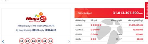 """Kết quả xổ số Vietlott hôm nay 10/8/2018: """"Soi"""" Jackpot hơn 31 vừa """"nổ vang"""" - Ảnh 1"""