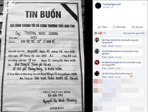 Sao Việt gửi lời chia buồn khi hay tin bố của Trương Ngọc Ánh qua đời - Ảnh 1