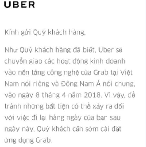 Uber thông báo chính thức ngừng hoạt động từ ngày 8/4 - Ảnh 1