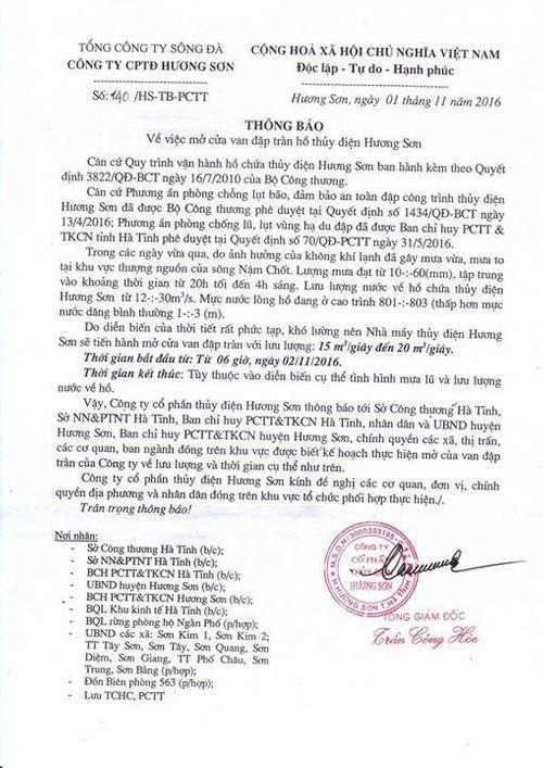 Mưa lớn diện rộng, hàng loạt hồ đập ở Hà Tĩnh thông báo xả lũ - Ảnh 1