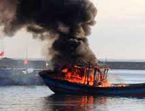 Tàu cá bốc cháy trong đêm, hơn chục người nhảy xuống biển - Ảnh 1