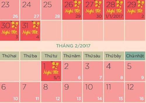 Bộ Lao động công bố lịch nghỉ Tết 2017 chính thức - Ảnh 1