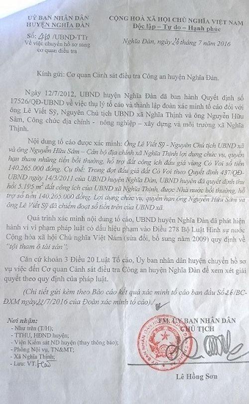 Khởi tố Chủ tịch xã theo kết quả thanh tra của UBND huyện - Ảnh 1
