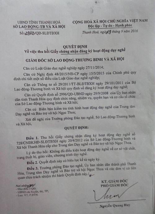 Rút giấy phép Trung tâm Dạy nghề và Bảo trợ xã hội Ngọc Thoa - Ảnh 4