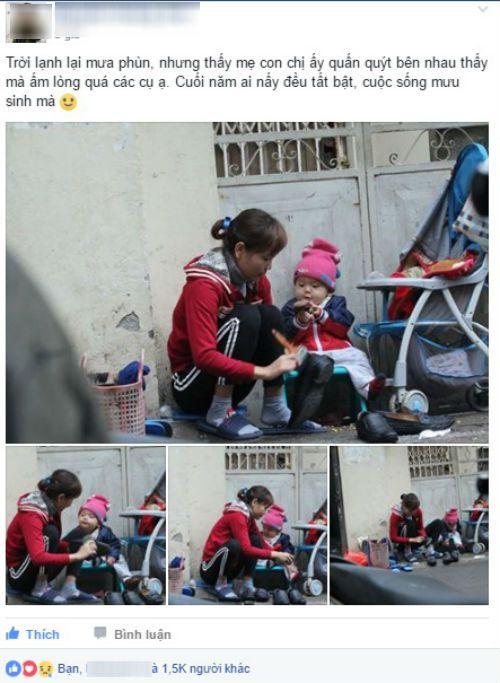 Dân mạng xúc động với hình ảnh bé trai 1 tuổi theo mẹ đi đánh giày giữa trời rét - Ảnh 1