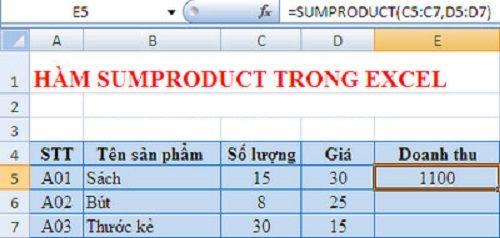 Hướng dẫn chi tiết cách dùng hàm Sumproduct trong Excel để tính công - Ảnh 2
