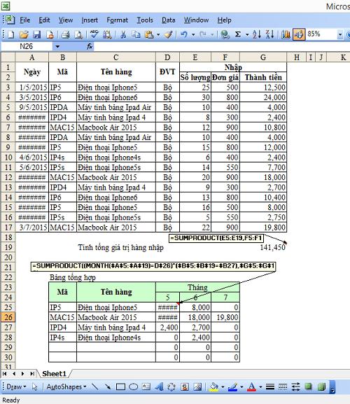 Hướng dẫn chi tiết cách dùng hàm Sumproduct trong Excel để tính công - Ảnh 3
